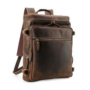 Vintage-Herren-Leder-15-6-034-Laptop-Rucksack-Schultertasche-Outdoor-Wandern-Tote