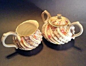 NPSK Japan Eggshell Sugar And Creamer - Hand Painted With Gold Moriage Beading