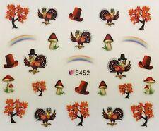 Nail Art 3d Decal Stickers Thanksgiving Turkey Fall Tree Rainbow Mushroom E452
