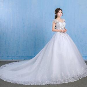 Stock Ivory Wedding Dress Bridal Gown Princess Full Length Beading ...