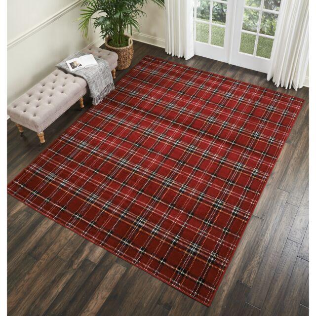 Throw Rug Red Plaid Lodge Cabin Decor Living Room Big Area Floor Mat Carpet  5x7