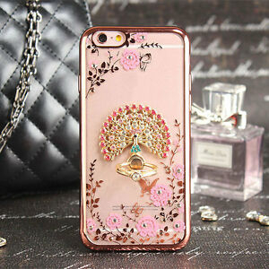 premium selection 3d0a0 59433 Details about Crystal Peacock Flowers Ring Kickstand Soft Phone Case Cover  for iPhone 6s Plus