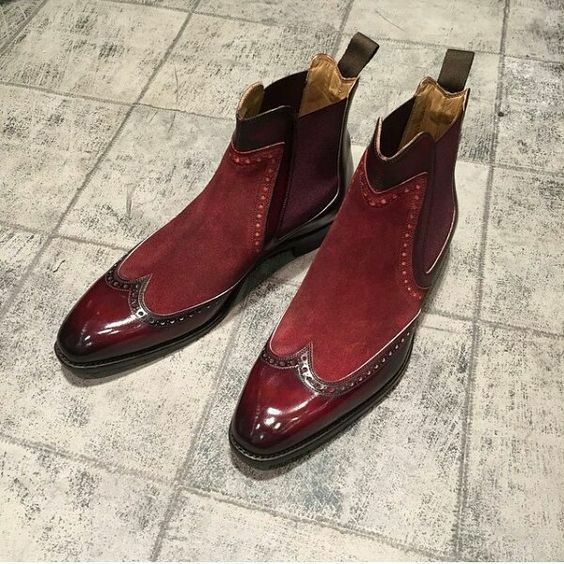 Handmade Men two tone Chelsea boots, Men burgundy ankle boots, Boots for mens