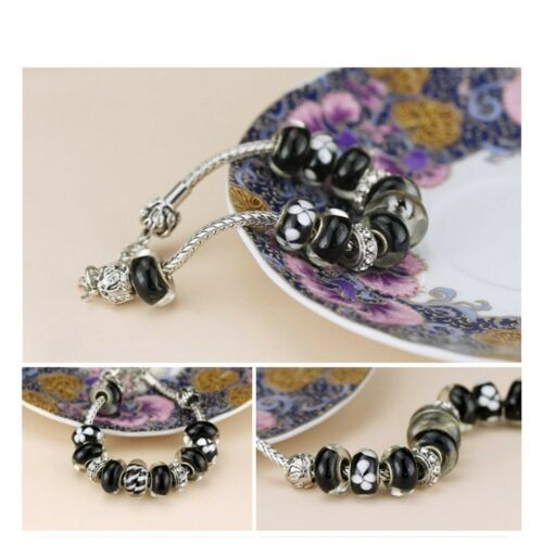 RUBYCA Silver Snake Chain Charm Bracelet Lobster fit European Large Hole Beads