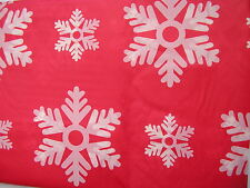 """christmas table cloth 54"""" x 72"""",plastic red and white snow flake design"""
