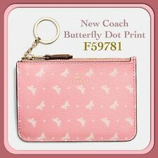 Coach Coin Key Pouch with Gusset Butterfly Dot Print Blush/Chalk F59781