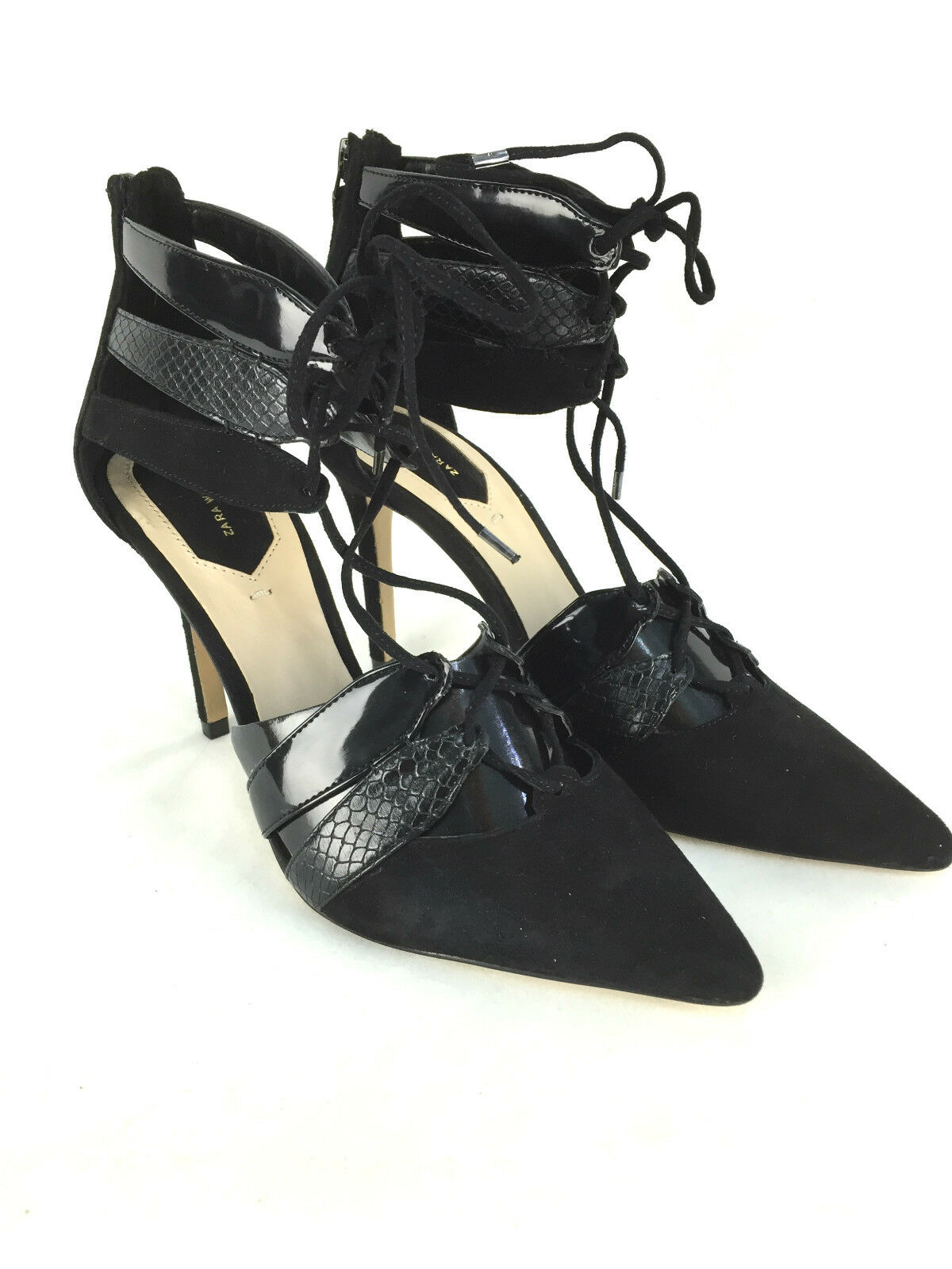 ZARA COMBINED LEATHER HIGH HEEL SHOES WITH STRAPS SIZE 5_6_7 5_6_7 5_6_7 38_39_40 7dc638