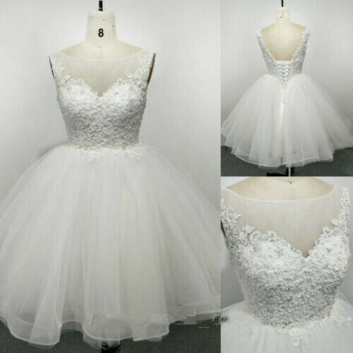 Short Beaded Lace Appliques Wedding Dress Boat Neck Knee Length Bridal Gown