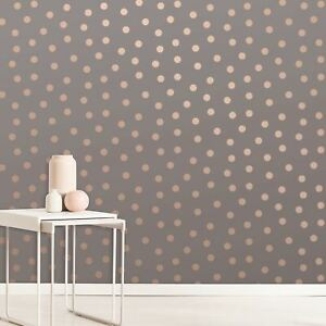 Details About Crown Charcoal Rose Gold Starlight Spots Wallpaper M1493 Metallic Highlights