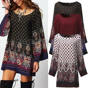 Vintage-Fall-Women-039-s-Floral-Printed-Ethnic-Loose-Long-Tops-Mini-Shirt-Sun-Dress