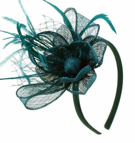 Sinamay Flower Fascinator Feathers and Net Satin Covered Alice Band