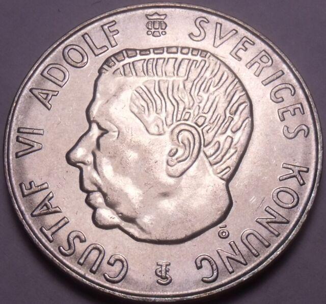 Unc Silver Sweden 1955 Ts 5 Kronor Edge Incription Duty Before All