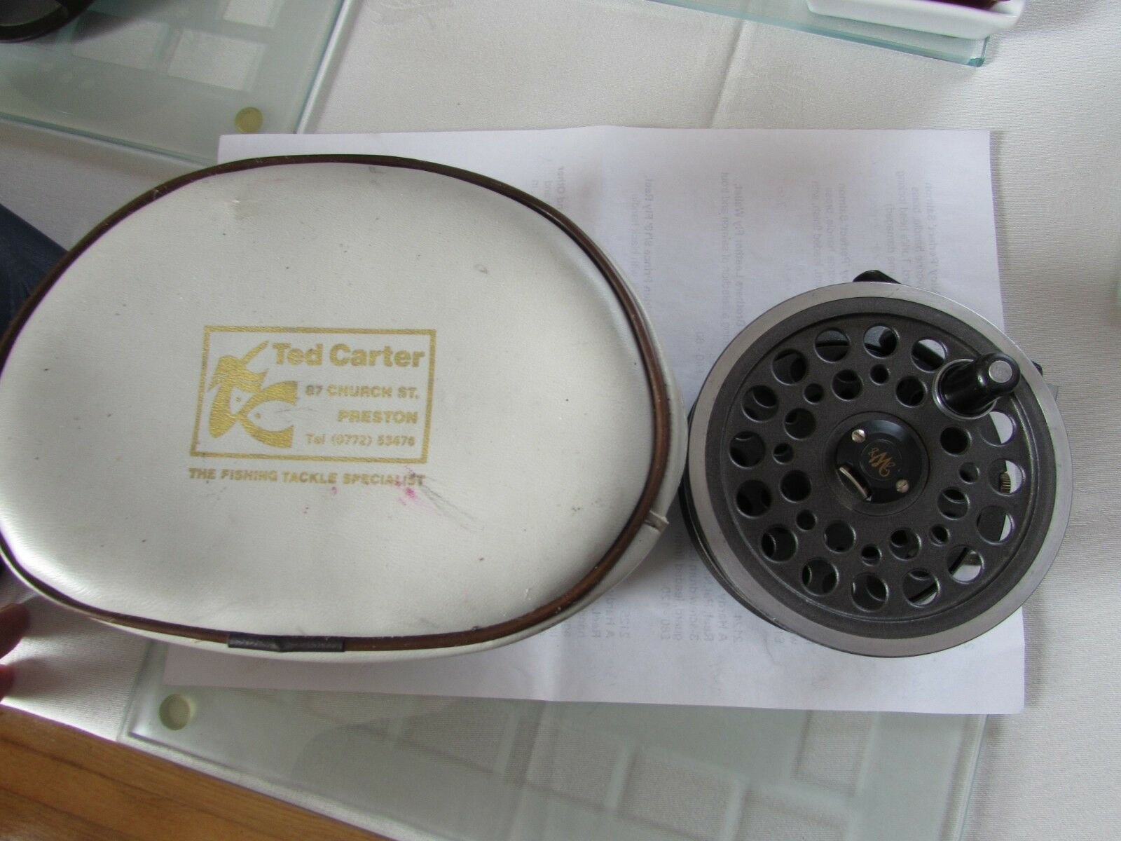 V good vintage youngs 1540 wide drum  expert salmon fly fishing reel 4.25   ,.