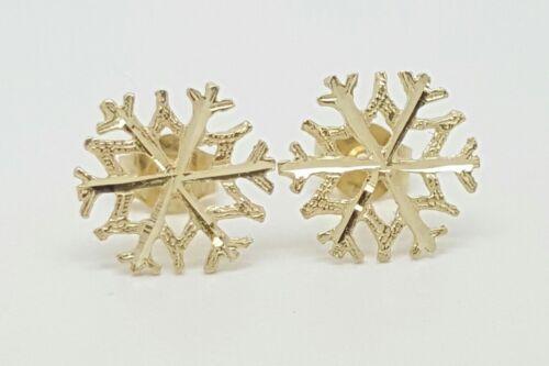 14k Solid Yellow Gold Snow Flake Stud Earrings Women//Children Push Back 10MM