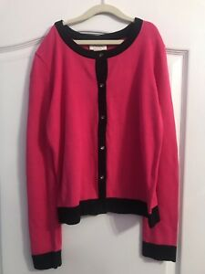 NWT-KATE-SPADE-NEW-YORK-Size-14-14Y-PINK-BLACK-TODDLERS-CARDIGAN-SWEATER