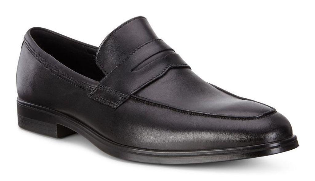 Ecco Men's Melbourne nero Leather Penny Loafer Slip on  Dress scarpe  shopping online di moda