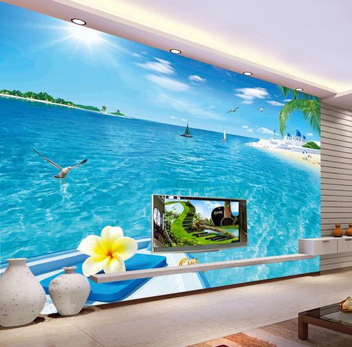 3D Blaue Ozean Insel Haus 4 Tapete Tapeten Mauer Foto Familie Tapete Wandgemälde