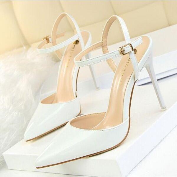 Sandali decolte pelle sintetica 10.5 eleganti stiletto bianco lucido  CW682
