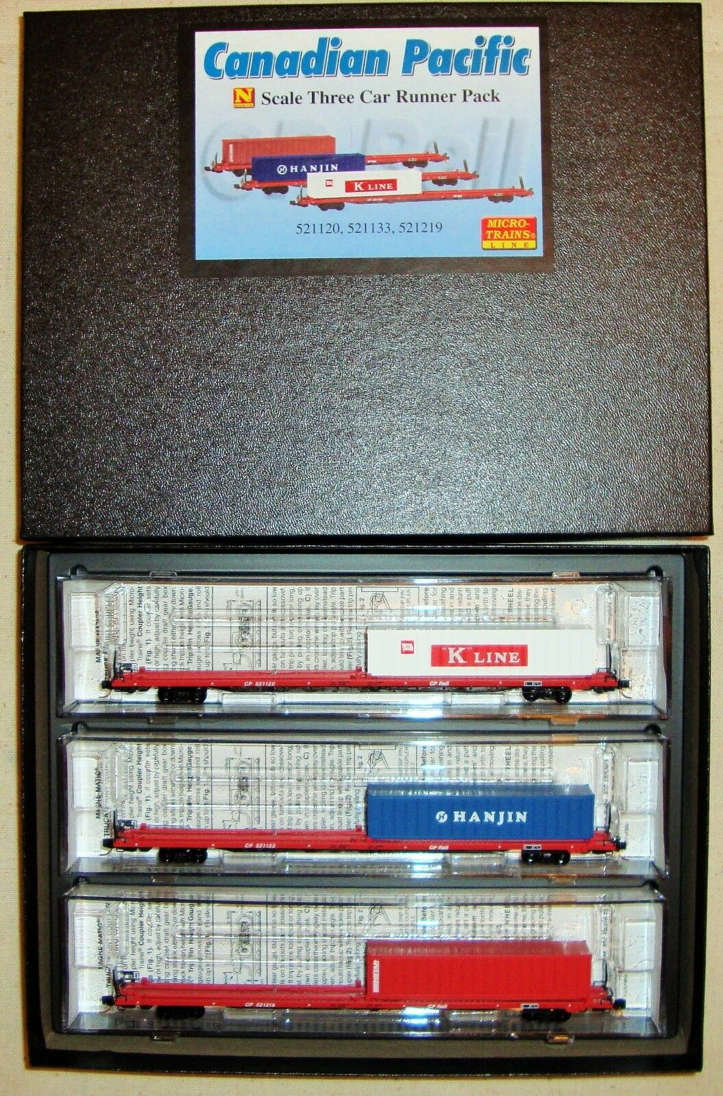 N MTL 993 00 096 Runner 3-Pk Canadian Pacific COFC Flat Cars w  Container
