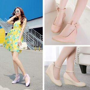 Bow-Knot-Buckle-Womens-Wedge-Heels-Solid-Pumps-Round-Toes-Fashion-Party-Shoes-Sz