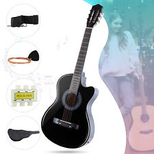 """38"""" Cutaway Design Electric Acoustic Guitar with Guitar Case, Strap, Tuner Black"""
