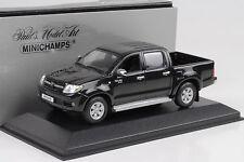 2007 Toyota Hilux Double Cabin Cab Pickup Black 1:43 Minichamps Dealer