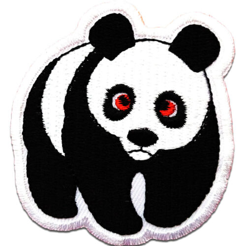 Application Embroided badges Panda animal Iron on patches 5,5x6cm white