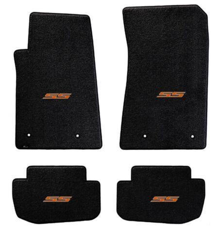 BLACK FLOOR MATS 2010-2015 Camaro Embroidered SS Logo in Orange on all 5 NEW