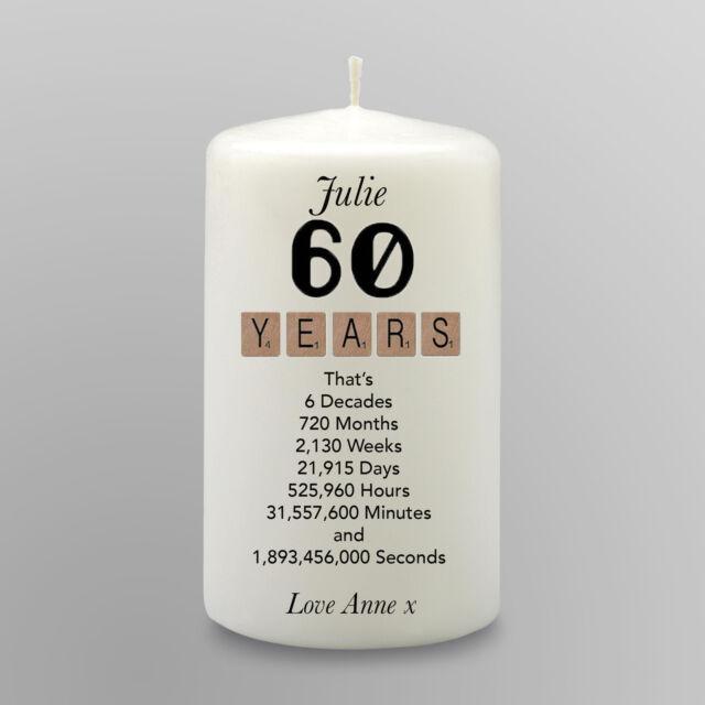 Personalised 60th Birthday Candle Gift Keepsake Scrabble Mum Friend Sister