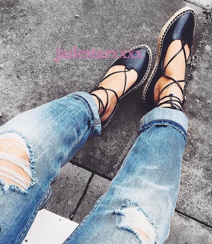 Zara Nero Lacci Espadrillas Scarpe Basse Nuovo 4 37 Scarpe in pelle nuova con etichetta