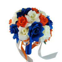 10 Bouquet - Ivory, Royal Blue, Orange Artificial Rose Bouquet, Wedding Bouquet