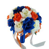 10 Bouquet - Ivory, Royal Blue, Orange Artificial Rose Bouquet, Wedding Bouquet