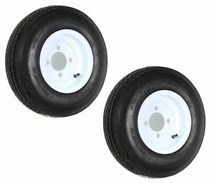 2-Pack Trailer Tire On Rim 480-8 4.80-8 8 6 Ply LRC 4 Hole Lug White Wheel