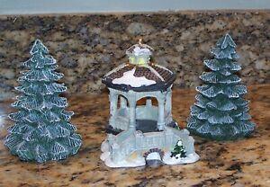 Miniature Bridge-Gazebo & Lemax Flocked Spruce Trees Christmas Village Figurines