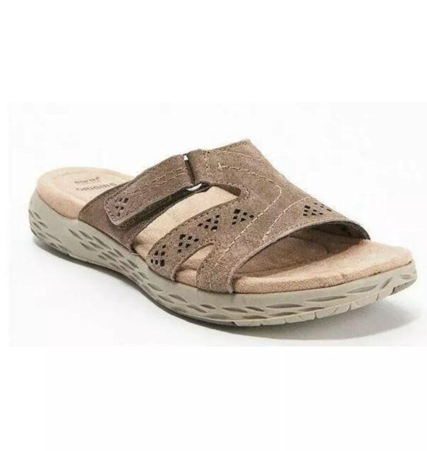 Earth Origins Suede Slide Sandals Size 9.5W Wide Westfield Waverly Sedona Brown