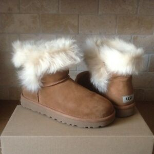 Details about UGG MILLA CHESTNUT SUEDE TOSCANA SHEEPSKIN CUFF MINI BOOTS SIZE US 10 WOMENS NEW