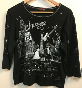 Flower-N-Ring-CHICAGO-Black-Shirt-size-Large-ROUTE-66-Art-to-Wear-L-Windy-City