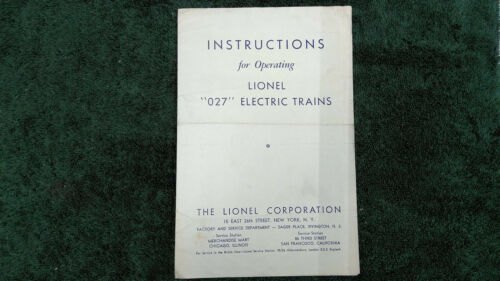 "LIONEL 1067 ""027"" ELECTRIC TRAINS INSTRUCTIONS PHOTOCOPY"