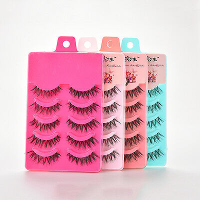 5 Pairs Natural Soft Eye Lashes Makeup Handmade Thick Fake False Eyelashes Vogue