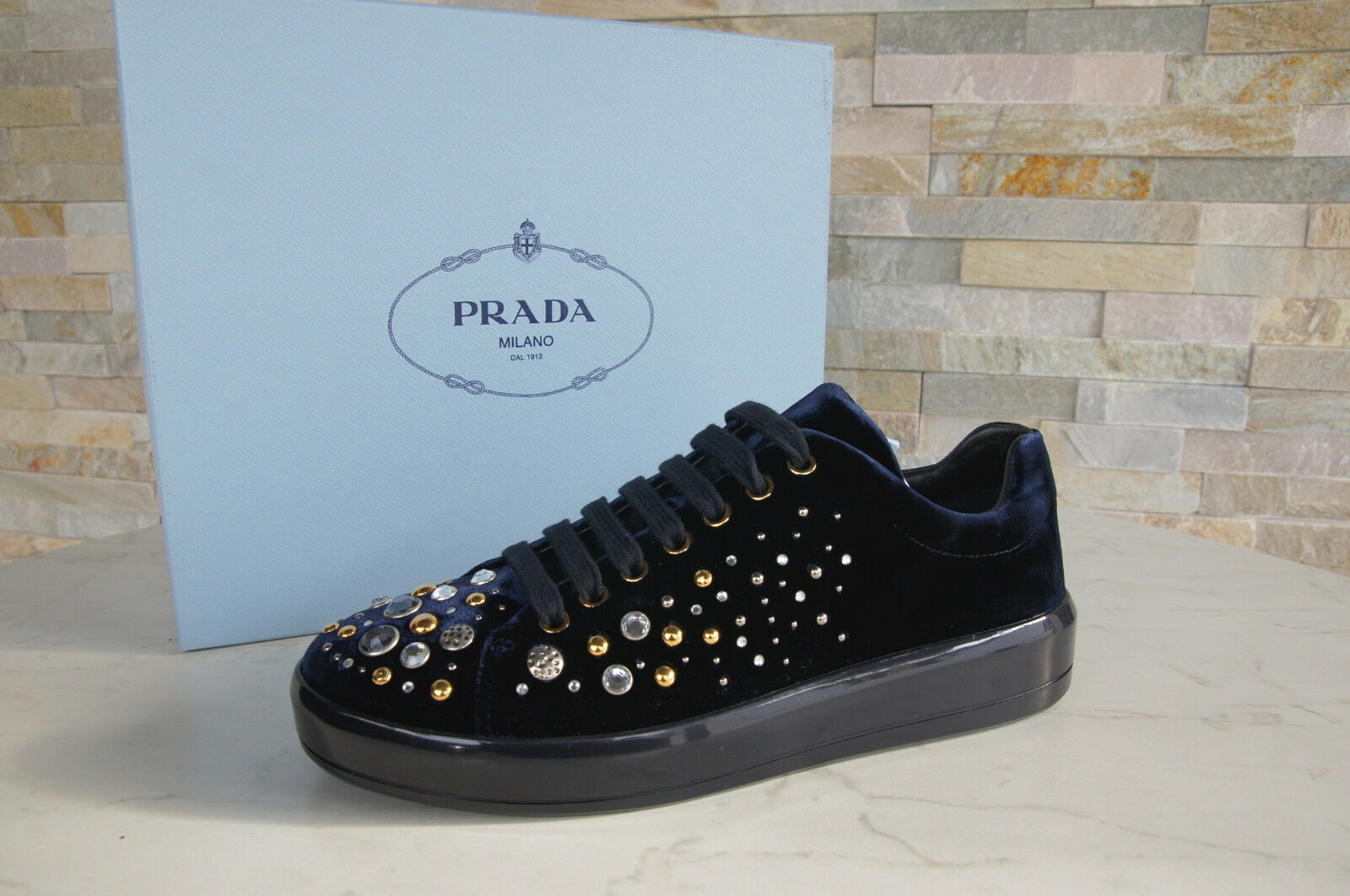 Prada 40 Sneakers Lace up 1E971H shoes shoes shoes Velvet Studs bluee New Formerly Rrp 4f1755