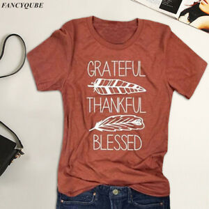 382e1468d50 Image is loading Women-Grateful-Thankful-Blessed-Thanksgiving-T-Shirt- Feather-