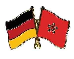 Deutschland & Hong-Kong Freundschaft Flaggen Vergoldet Emaille Revers Anstecker
