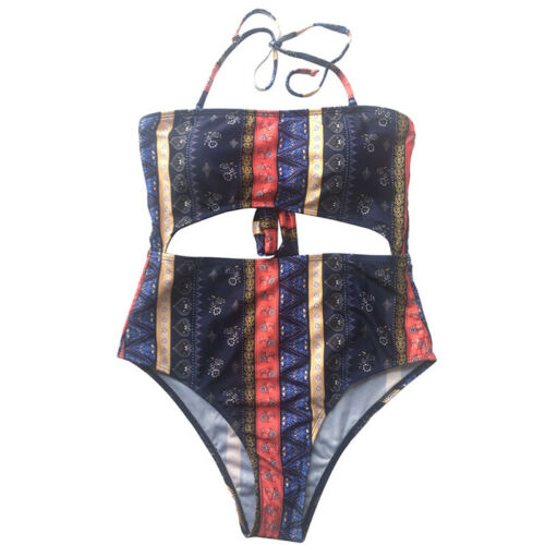 Womens One-Piece Floral Bikini Set Halter Neck Padded Swinsuit Monokini Swimwear
