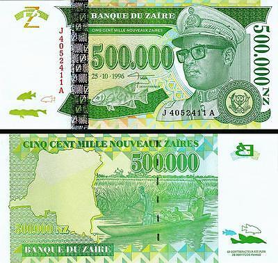 500,000 Sign-11 Zaire 500000 P-78 Zaires 1996 Unc