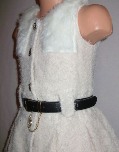 GIRLS CREAMY WHITE FUR TRIM WINTER FLUFFY SOFT WOOLLY PARTY COAT DRESS with BELT