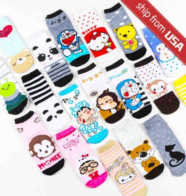 US 10 Pairs Assorted Warm Women Girls Animal Socks Kawaii Cute Cartoon Japan lot