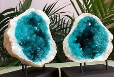 Large Geode Crystal Quartz Specimen Open Geode Pair W/Stands Morocco Blue Geode.