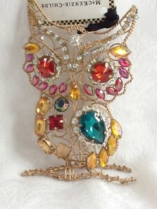 MACKENZIE-CHILDS-COMPLEMENTS-JEWELED-OWL-ORNAMENT-NEW-24-RED