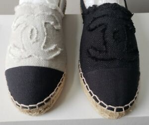 547bac817be Details about CHANEL LINEN CANVAS CC LOGO ESPADRILLES EU 36 37 38 39 40 41  42 I LOVE SHOES