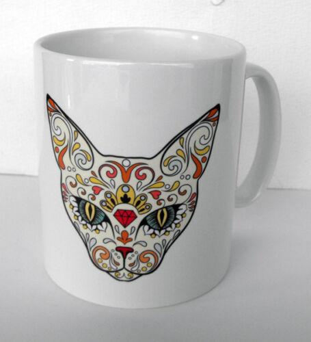 """bonus 3/"""" sticker Sugar Skull Cat MINT RARE SUGAR SKULL CAT CERAMIC MUG"""